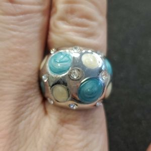 Silver tone blue resin ring